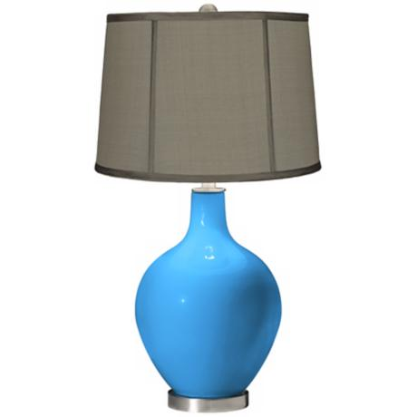 Sky Blue Gray Dupioni Silk Shade Ovo Table Lamp