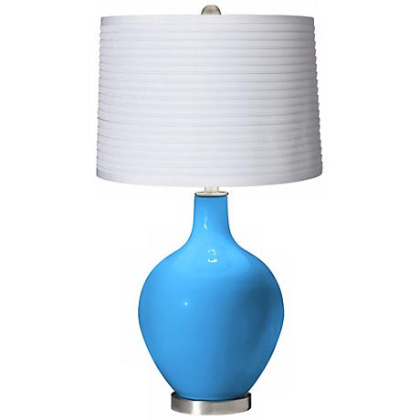 Sky Blue White Pleated Shade Ovo Table Lamp