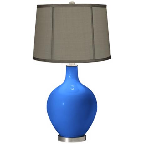 Royal Blue Gray Dupioni Silk Shade Ovo Table Lamp