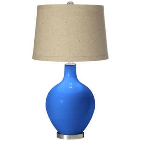 Royal Blue Oatmeal Linen Shade Ovo Table Lamp