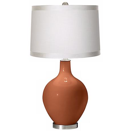 Fawn Brown White Drum Shade Ovo Table Lamp