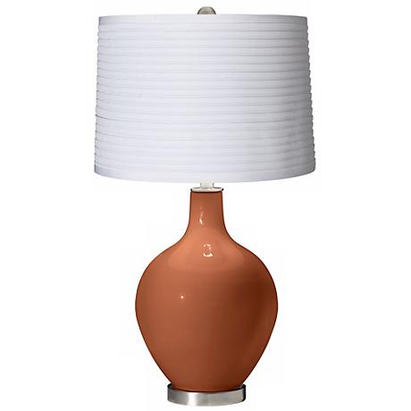 Fawn Brown White Pleated Shade Ovo Table Lamp