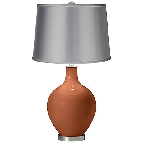 Fawn Brown - Satin Light Gray Shade Ovo Table Lamp