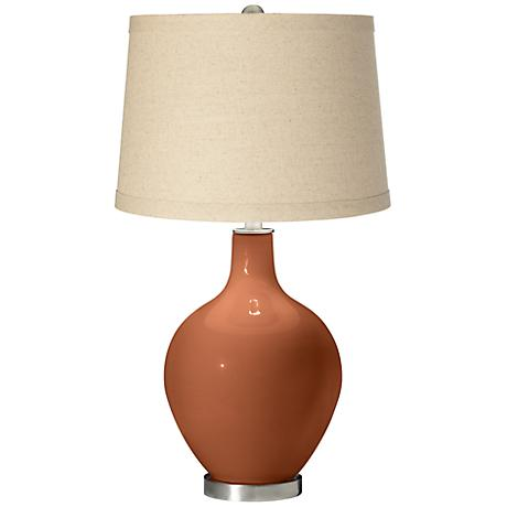 Fawn Brown Oatmeal Linen Shade Ovo Table Lamp