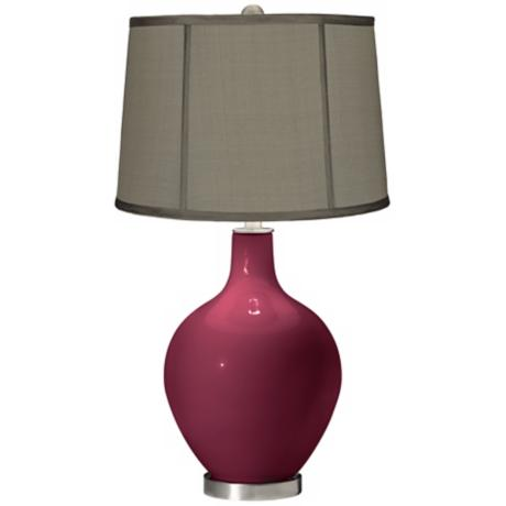 Dark Plum Gray Dupioni Silk Shade Ovo Table Lamp