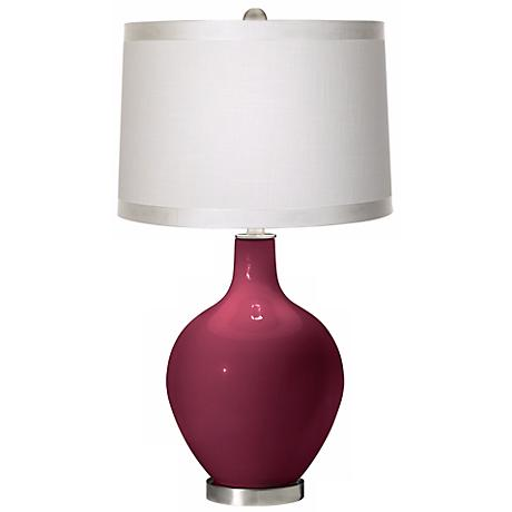 Dark Plum White Drum Shade Ovo Table Lamp