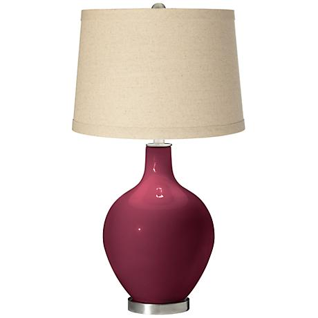 Dark Plum Oatmeal Linen Shade Ovo Table Lamp