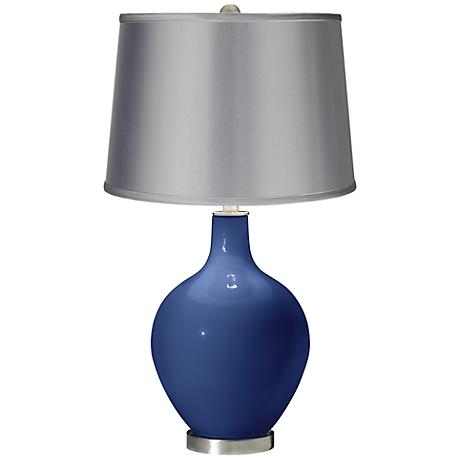Monaco Blue - Satin Light Gray Shade Ovo Table Lamp