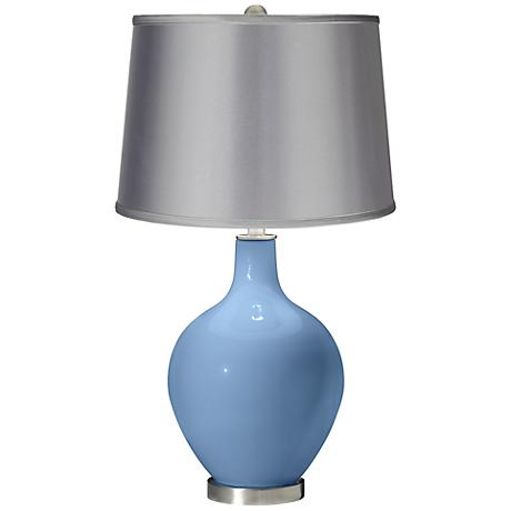 Dusk Blue - Satin Light Gray Shade Ovo Table Lamp