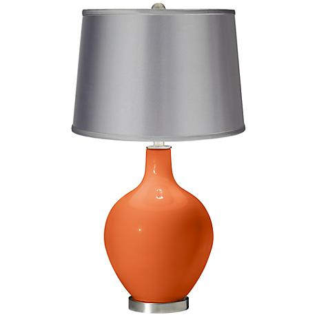 Nectarine - Satin Light Gray Shade Ovo Table Lamp