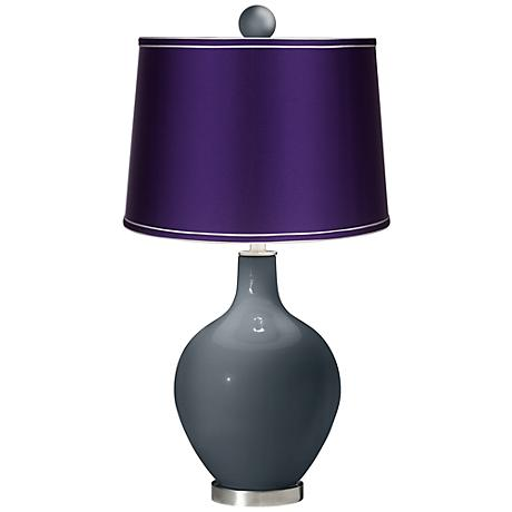 Outer Space - Satin Purple Ovo Lamp with Color Finial