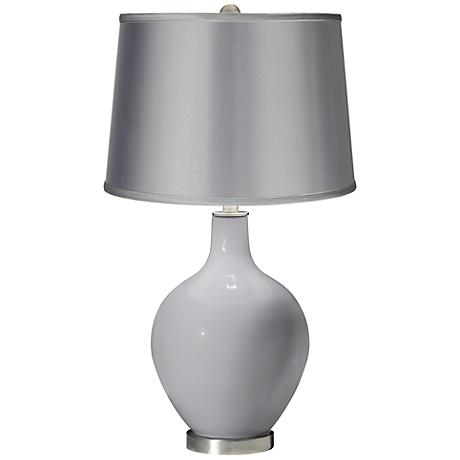 Swanky Gray - Satin Light Gray Shade Ovo Table Lamp