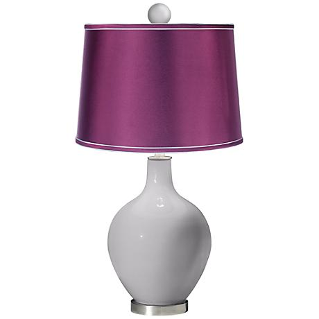 Swanky Gray - Satin Plum Ovo Table Lamp with Color Finial