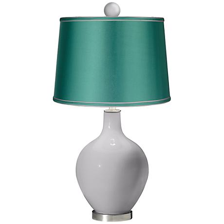 Swanky Gray - Satin Sea Green Ovo Lamp with Color Finial