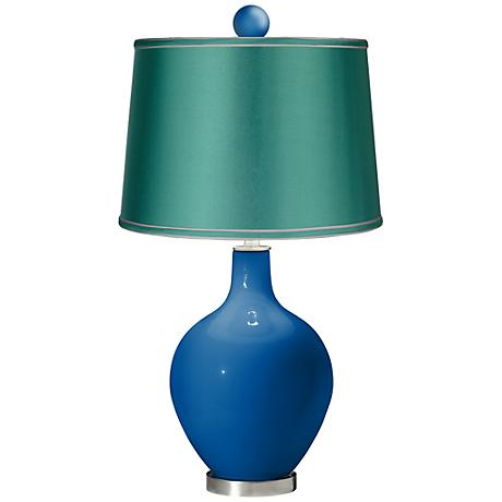 Hyper Blue - Satin Sea Green Ovo Lamp with Color Finial