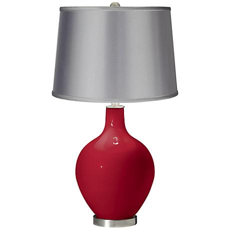 Ribbon Red - Satin Light Gray Shade Ovo Table Lamp