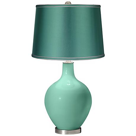 Larchmere - Satin Sea Green Shade Ovo Table Lamp