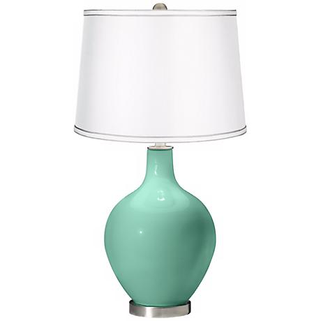 Larchmere - Satin Silver White Shade Ovo Table Lamp