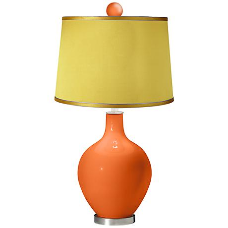 Invigorate - Satin Yellow Ovo Table Lamp with Color Finial