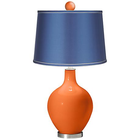 Invigorate - Satin Blue Ovo Table Lamp with Color Finial