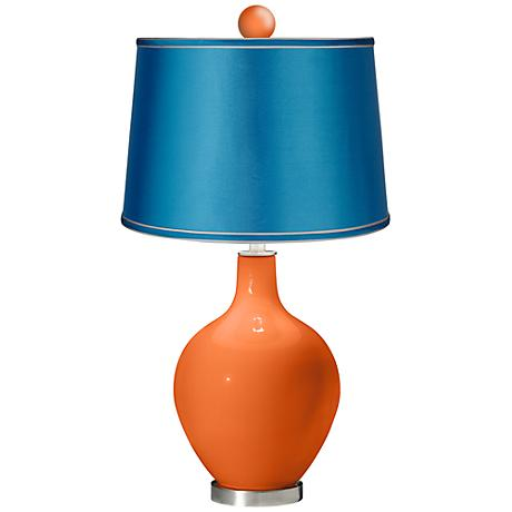 Invigorate - Satin Turquoise Ovo Lamp with Color Finial