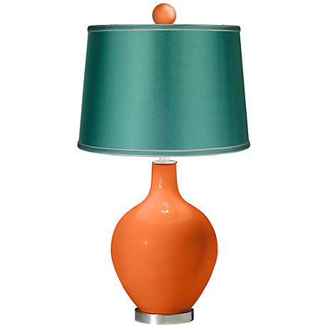 Invigorate - Satin Sea Green Ovo Lamp with Color Finial
