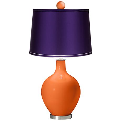 Invigorate - Satin Purple Ovo Lamp with Color Finial