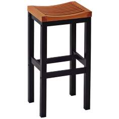 "Black and Oak 29"" High Bar Stool"