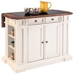 White and Oak Kitchen Island with Drop Leaf