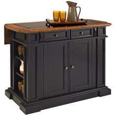 Black and Oak Kitchen Island with Drop Leaf