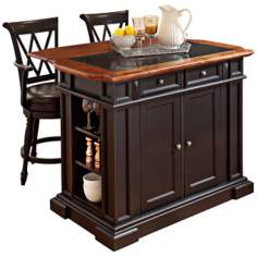 Black and Oak Kitchen Island with 2 Barstools