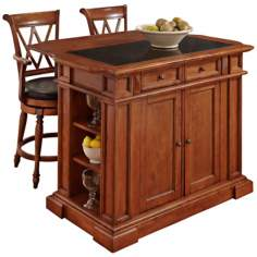 Deluxe Distressed Cottage Oak Kitchen Island and Stools