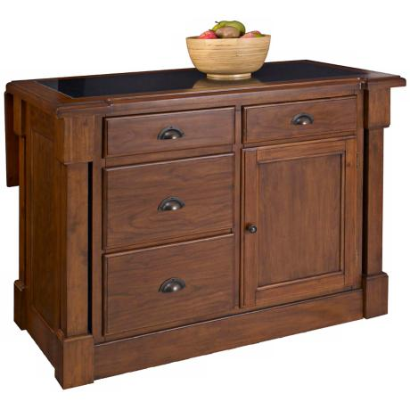 Aspen Cherry Kitchen Island with Drop Leaf