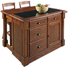 Aspen Wood Drop Leaf Kitchen Island with 2 Barstools