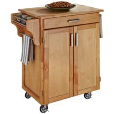Natural Wood Kitchen Utility Cart