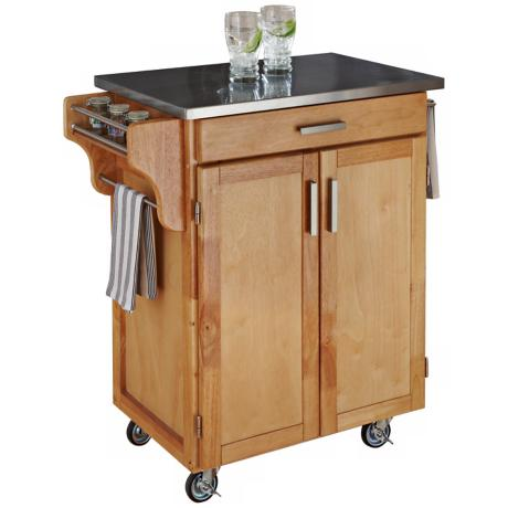 Natural Wood Kitchen Utility Cart with Stainless Top