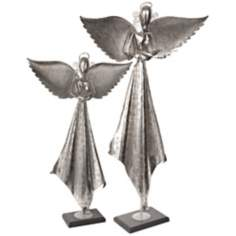 Set of 2 Uttermost Antiqued Nickel Angel Sculptures