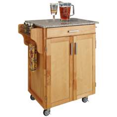 Natural Wood Kitchen Cart with Speckled Granite Top