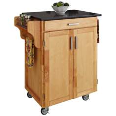 Natural Wood Kitchen Cart with Black Granite Top