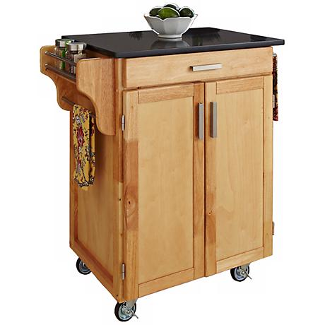 Hampton Black Granite Top Natural Wood Cuisine Cart