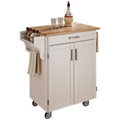 White Wood Kitchen Utility Cart with Natural Top