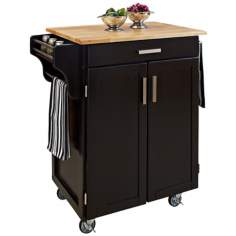 Black Kitchen Utility Cart with Natural Wood Top
