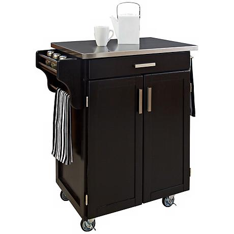 Hampton Stainless Steel Top Black Wood Cuisine Cart