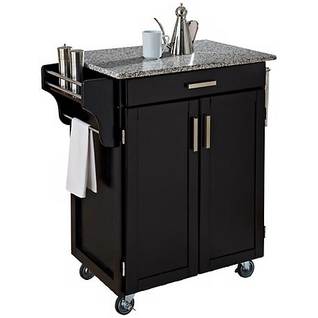Hampton Speckled Granite Top Black Cuisine Cart