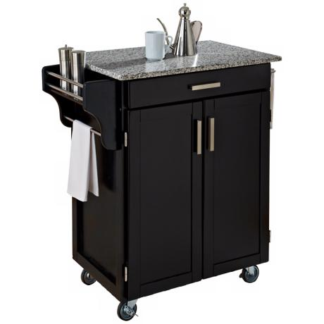Black Wood Kitchen Cart with Speckled Granite Top