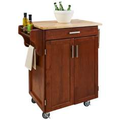 Warm Oak Kitchen Utility Cart with Natural Wood Top