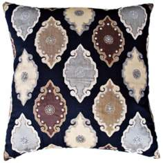 "Azare 22"" Square Black Accent Pillow"