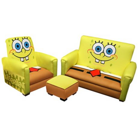 Spongebob Toddler Sofa Chair and Ottoman Set