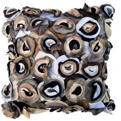 "Blossom Black 22"" Square Hand-Made Accent Pillow"