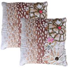 "Set of 2 Jenna Brown 20"" Down Throw Pillows"